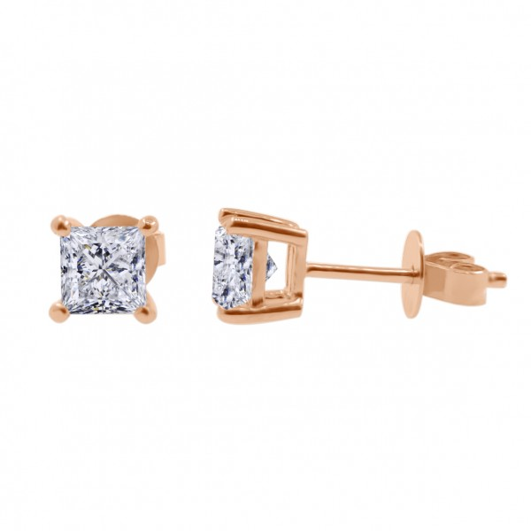 1CTW Princess Cut Diamond Earrings(GIA E VS2)