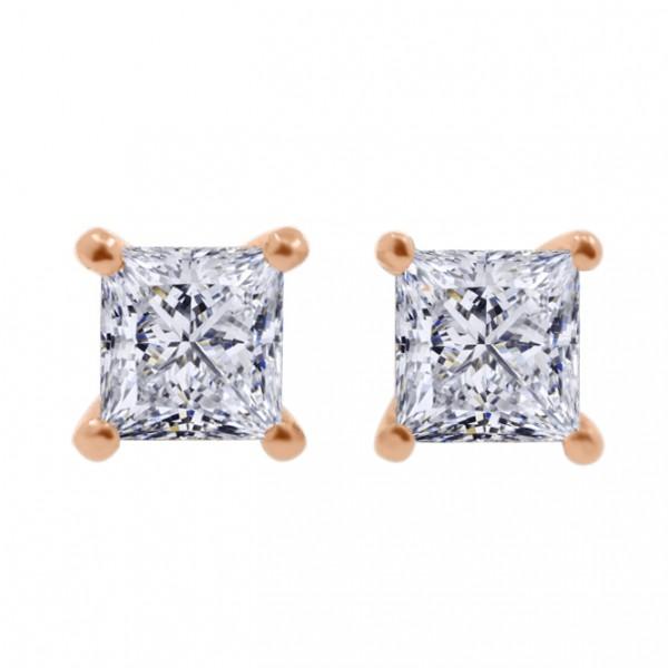 1CTW Princess Cut Diamond Earrings(GIA E VS2)