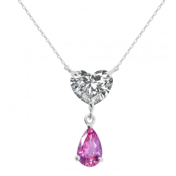 0.9CT H SI1 3EX NON Diamond with 0.4CT Pink Sapphire Pendant