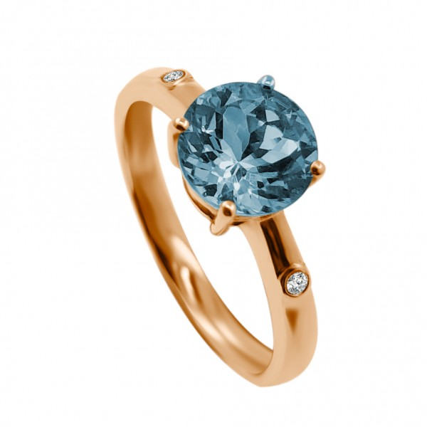 Aquamarine Diamond Ring