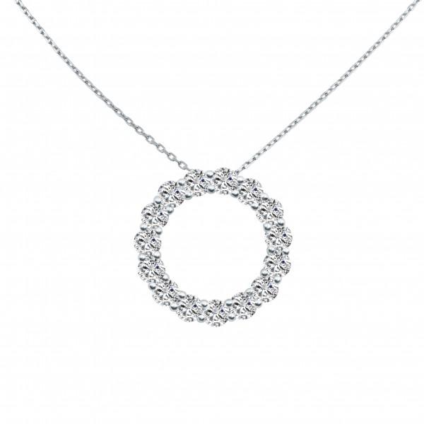 0.6CTW Circle O Diamond Necklace