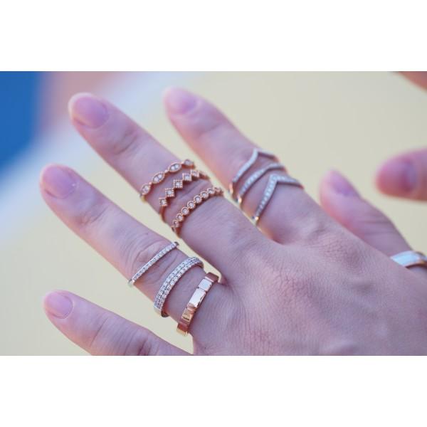 (PFDMQER-DBLM) 18K Gold MQ Vintage Eternity Diamond Ring