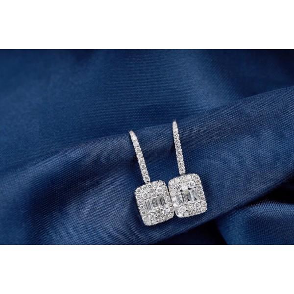18K圓鑽加直方鑽石耳吊