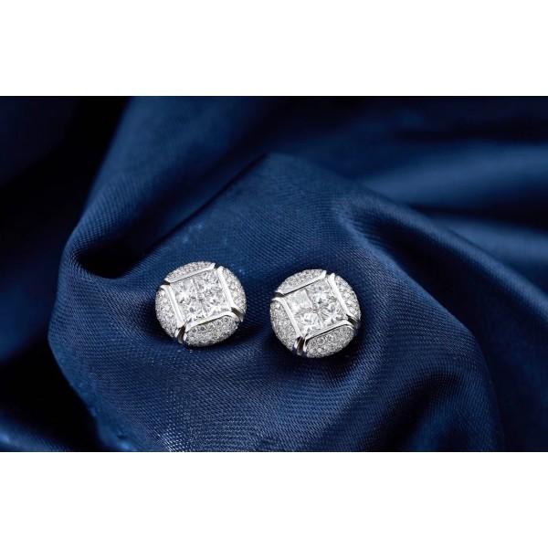 18K公主方形燈籠鑽石耳釘