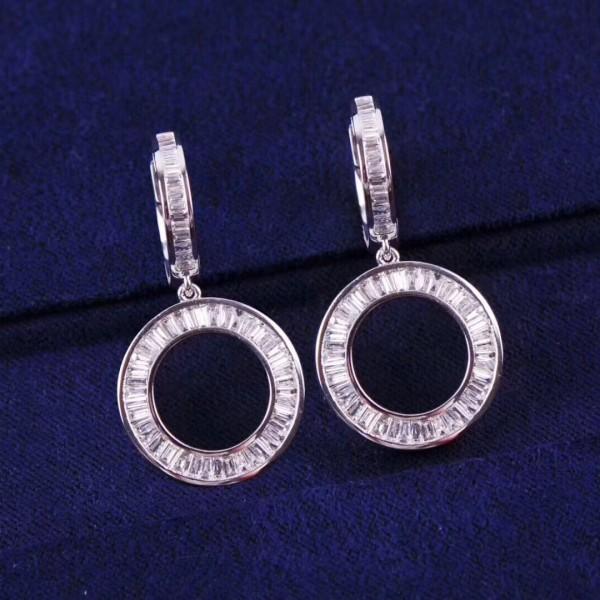 18K梯方鑽石圓形耳環