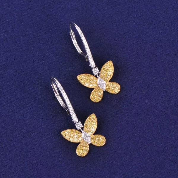 18K馬眼形鑽石白鑽+黃鑽鑽石耳吊