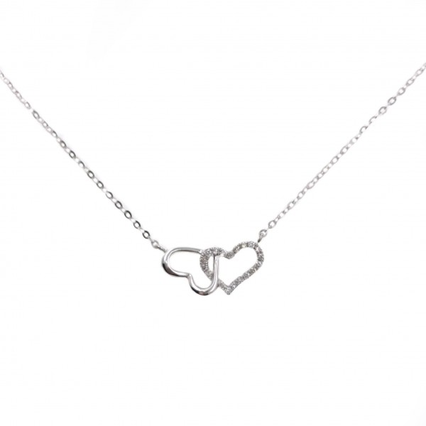18K Linking Heart Diamond Necklace